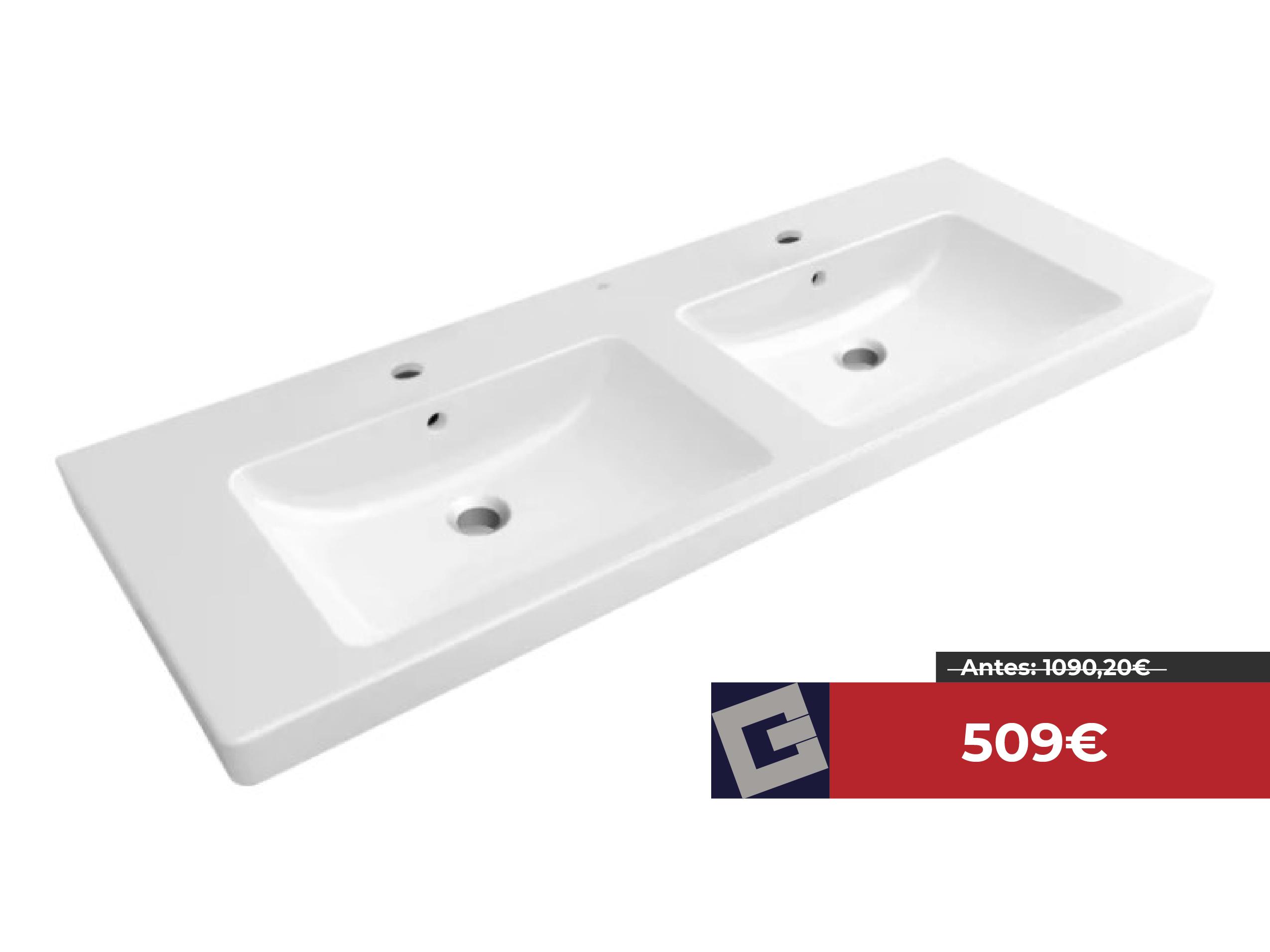 Encimera de lavabo doble Villeroy & Boch Subway 2.0 130cm blanco