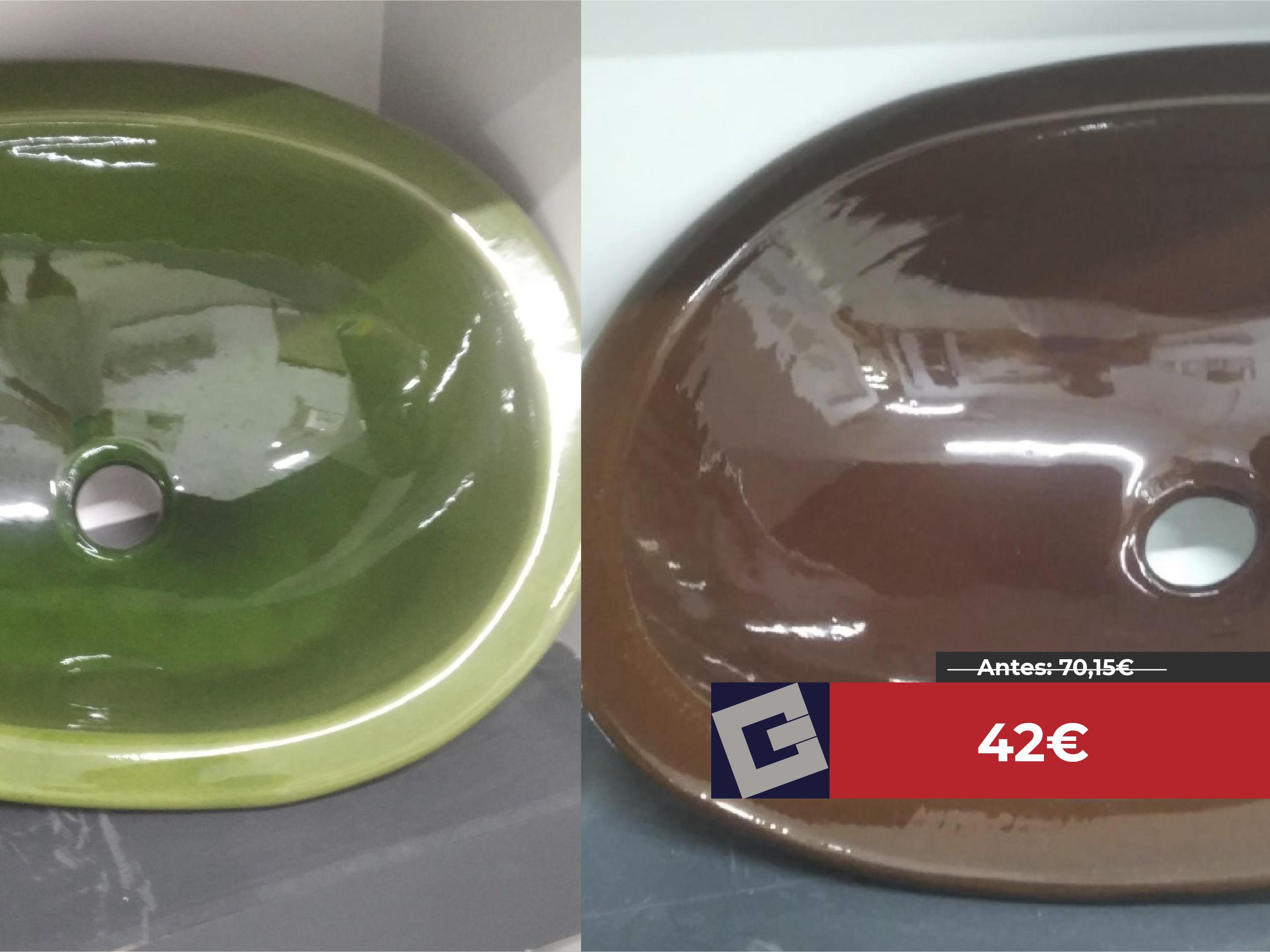 Fregadera ovalada vidriada C.Est 52X40 marrón/verde